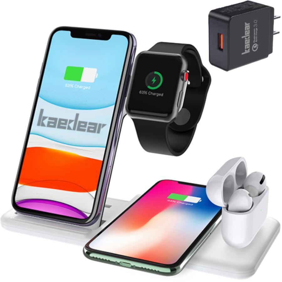 Kaedear (カエディア) ワイヤレス充電器 iphone / apple watch 6 (OS7) / airpods pro 充電 スタンド アップルウォッチ 充電器 4in1 qi 最大15W 18Wアダプター付 kaedear 08