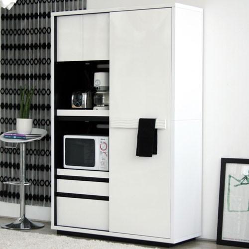 引戸レンジ台兼食器棚 幅118cm高さ184cm シュール ga-su-kb-120-wh