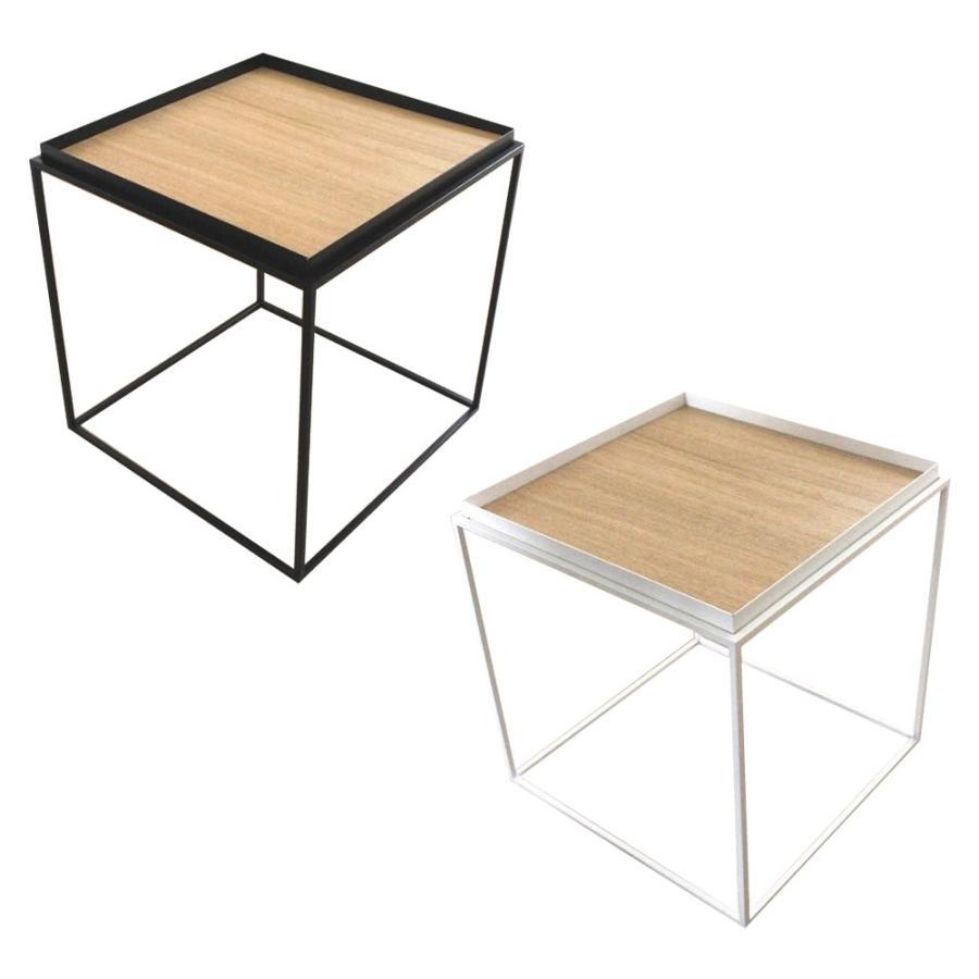 送料無料 トレイテーブル サイドテーブル 400×400mm ナラ突板(同梱・代引不可)