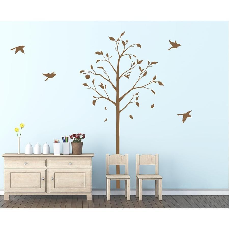 送料無料 東京ステッカー ウォールステッカー 転写式 林檎の木と小鳥 ブラウン Mサイズ Mサイズ TS-0051-CM