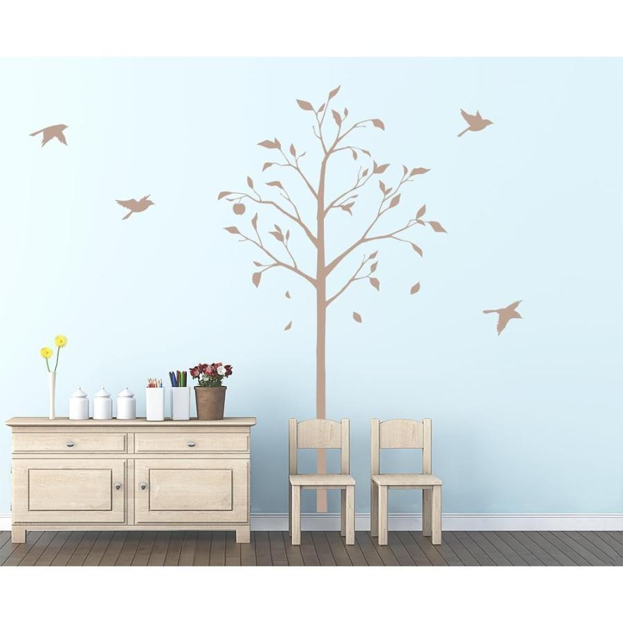 送料無料 東京ステッカー ウォールステッカー 転写式 林檎の木と小鳥 ベージュ Lサイズ TS-0051-BL