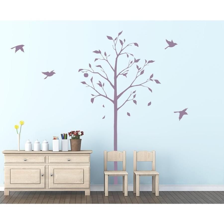 送料無料 東京ステッカー ウォールステッカー 転写式 林檎の木と小鳥 パープル Lサイズ TS-0051-EL