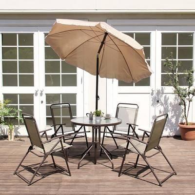 パラソル テーブル チェア 4脚セット 椅子 イス 4人用 4人用 4人用 屋外 カフェ系 テラス ガーデン 庭 ベランダ バルコニー ( ガーデンテーブル 机 ガーデンチェア いす ) aeb