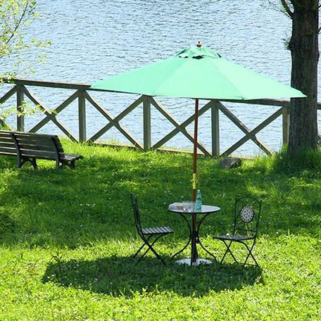 パラソル 庭 ガーデン おしゃれ 海 ビーチ 大型 大きい アウトドア テラス 日除け 日よけ サンシェード 日傘 グリーン 緑 重り別売り 幅270