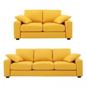 ソファー ソファ 3.5人掛け + 2人掛け 二人掛け おしゃれ 布 北欧 カフェ 応接 座椅子 ローソファ カバー付き ( ワイド (D)2P+3.5P Cアイボリー ナチュラル )