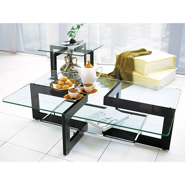 リビングテーブル、リビング テーブル、テーブル リビング、ローテーブル、ガラステーブル、ガラス テーブル(黒・黒色・ブラック)