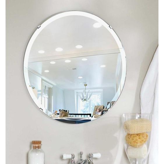 洗面鏡 浴室鏡 トイレ鏡 化粧鏡 日本製 高透過 超透明鏡 正円形 正円形 鏡 550mm×550mm スーパークリアーミラー デラックスカット フレームレスミラー