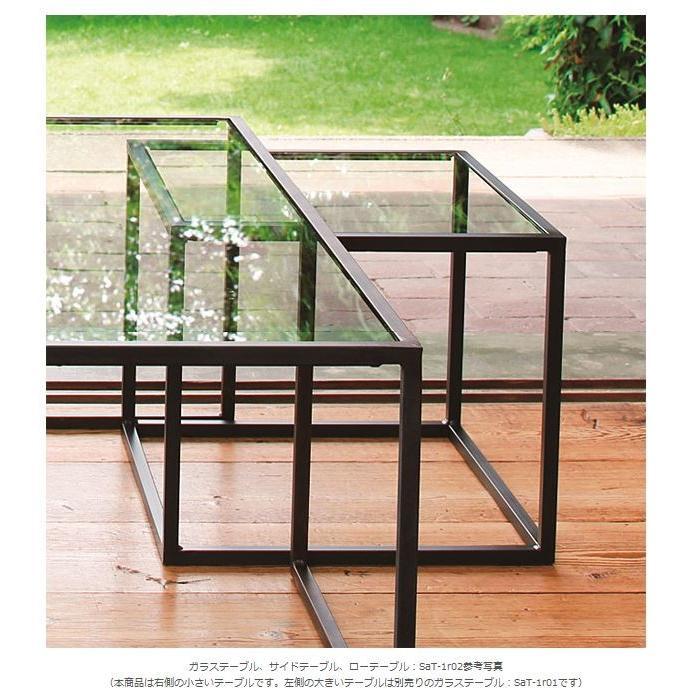 サイドテーブル、サイド テーブル、テーブル サイド、ガラステーブル、ガラス テーブル、テーブル ガラス(茶・茶色・ブラウン)