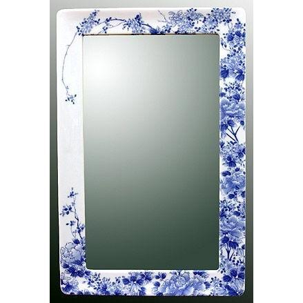 鏡、ミラー、壁掛け鏡、ウオールミラー(有田焼 伊万里焼 伊万里焼 陶器 磁器):yt-w360h550-3.5k-tr(フレームミラー 壁掛け 壁付け 姿見 姿見