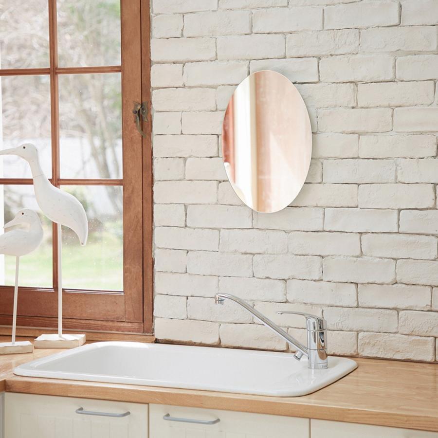 鏡 貼る 壁掛け トイレ おしゃれ 楕円 オーバル|kagamishop|10