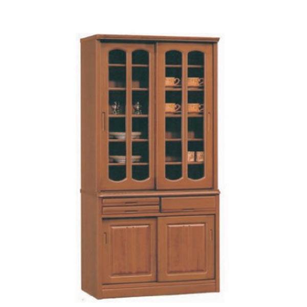 食器棚 ダイニングボード 90幅 幅90cm キッチン収納 カップボード ガラス扉 北欧 シンプル モダン 木製 タモ材 アウトレット価格並