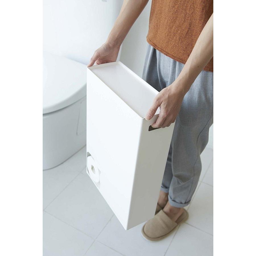 トイレットペーパーストッカー プレート ホワイト トイレットペーパー収納 トイレットペーパーケース 12ロール スチール コンパクト スタイ kagu-piena