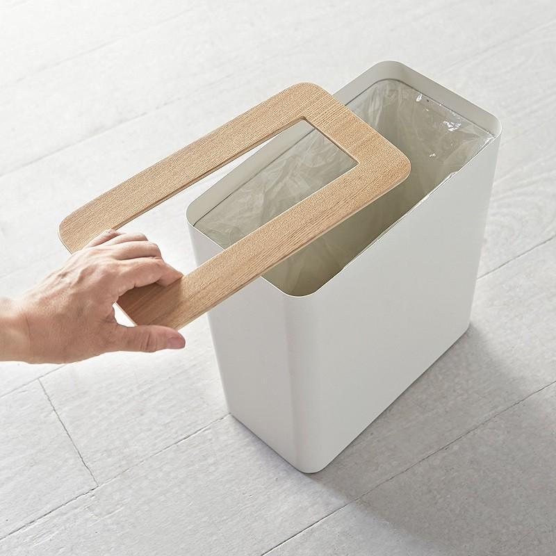 トラッシュカン リン 角型 ブラウン ナチュラル ゴミ袋が見えないゴミ箱 ダストボックス ごみ箱 分別 縦型 10リットル リビング オフィス 書斎 寝室 kagu-piena 03