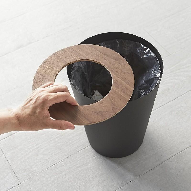 トラッシュカン リン 丸型 ブラウン ナチュラル ゴミ袋が見えないゴミ箱 ダストボックス ごみ箱 分別 縦型 7リットル kagu-piena 03