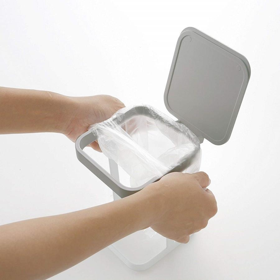 ポリ袋エコホルダー 蓋付きポリ袋エコホルダー プレート ホワイト ゴミ箱 キッチン雑貨|kagu-piena|06