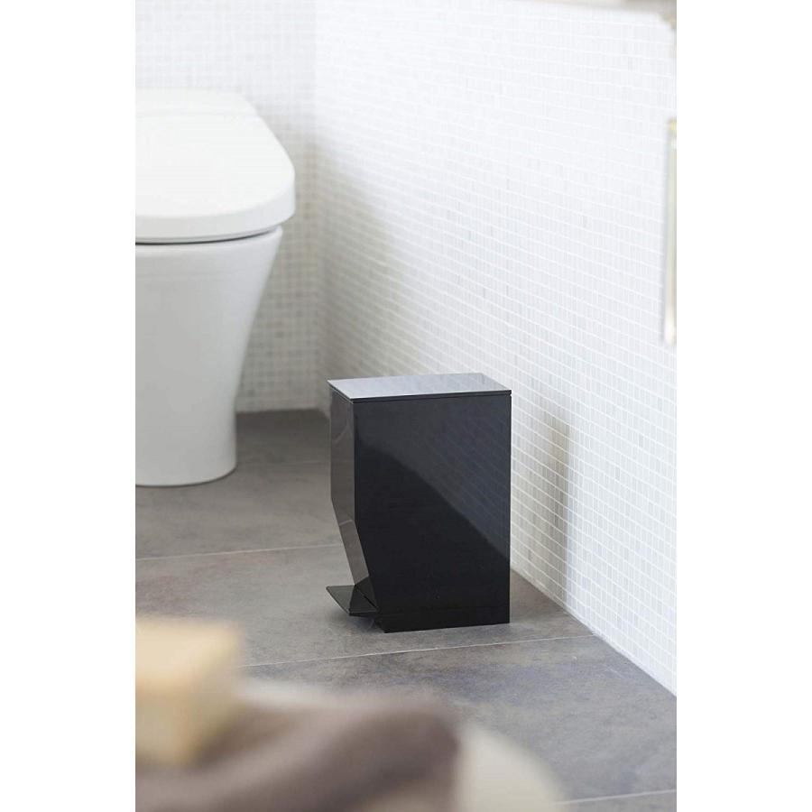 ゴミ箱 ペダル式トイレポット タワー ホワイト ブラック サニタリー 持ち手あり 袋止めあり|kagu-piena|03