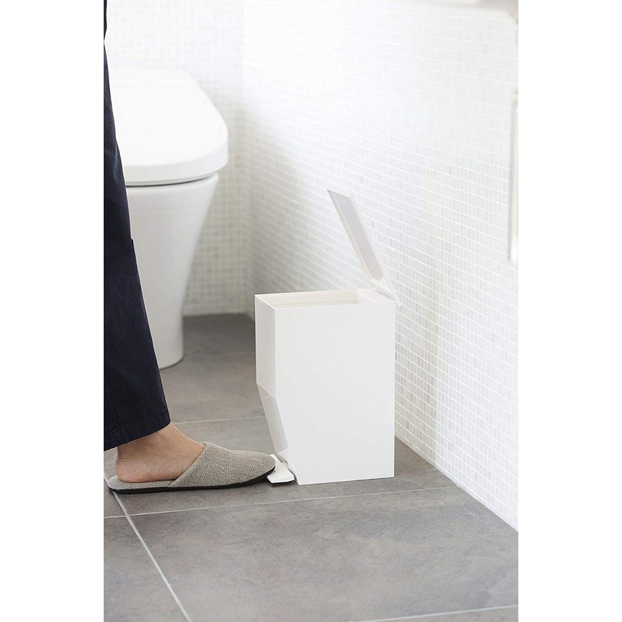 ゴミ箱 ペダル式トイレポット タワー ホワイト ブラック サニタリー 持ち手あり 袋止めあり|kagu-piena|05
