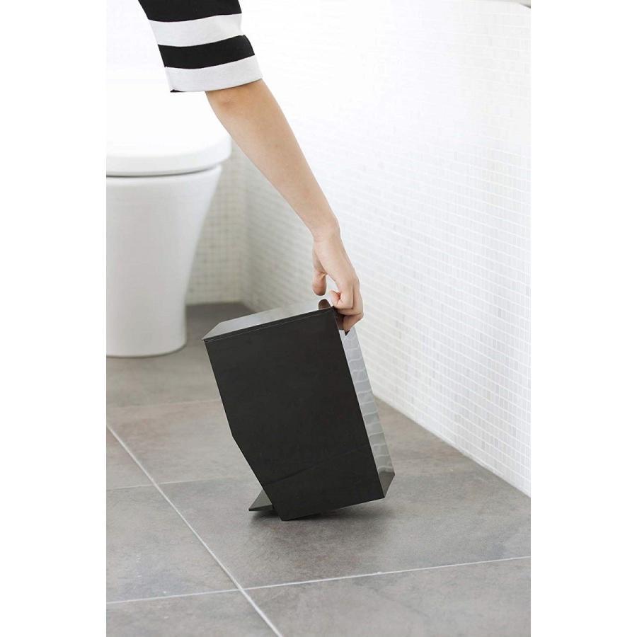 ゴミ箱 ペダル式トイレポット タワー ホワイト ブラック サニタリー 持ち手あり 袋止めあり|kagu-piena|08