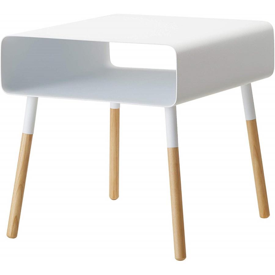 ローサイドテーブル ホワイト ブラック ソファー横 ベッド横 棚付き 天然木 スクエア|kagu-piena