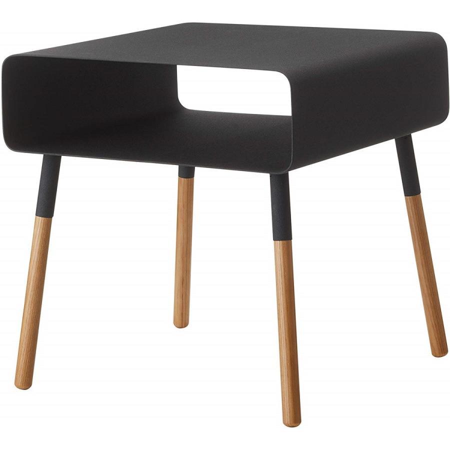 ローサイドテーブル ホワイト ブラック ソファー横 ベッド横 棚付き 天然木 スクエア|kagu-piena|02