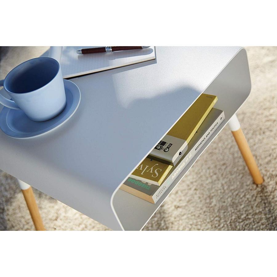 ローサイドテーブル ホワイト ブラック ソファー横 ベッド横 棚付き 天然木 スクエア|kagu-piena|11