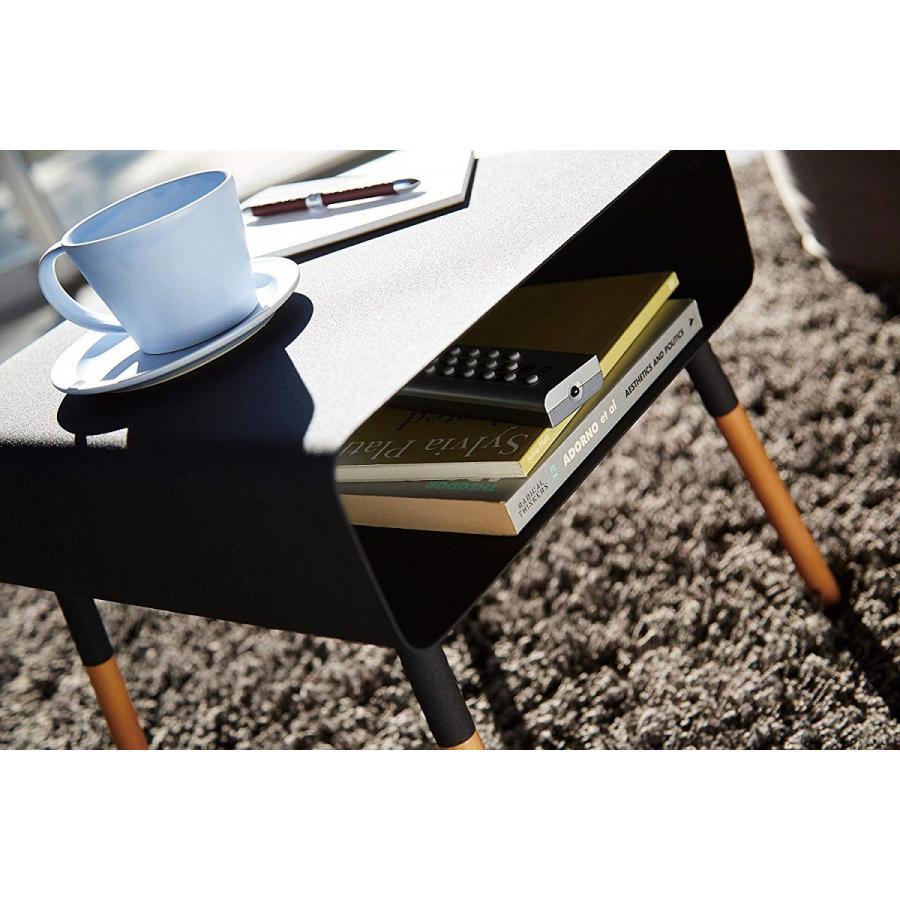ローサイドテーブル ホワイト ブラック ソファー横 ベッド横 棚付き 天然木 スクエア|kagu-piena|12