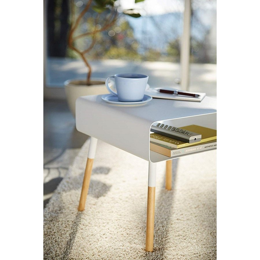 ローサイドテーブル ホワイト ブラック ソファー横 ベッド横 棚付き 天然木 スクエア|kagu-piena|13