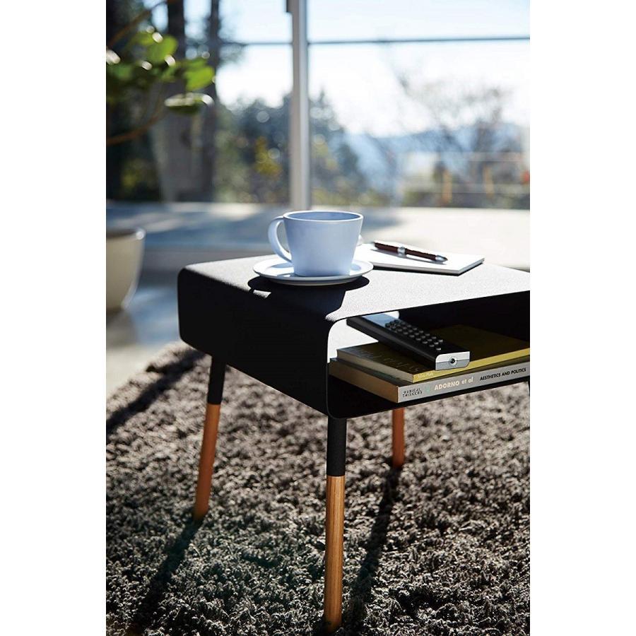 ローサイドテーブル ホワイト ブラック ソファー横 ベッド横 棚付き 天然木 スクエア|kagu-piena|14