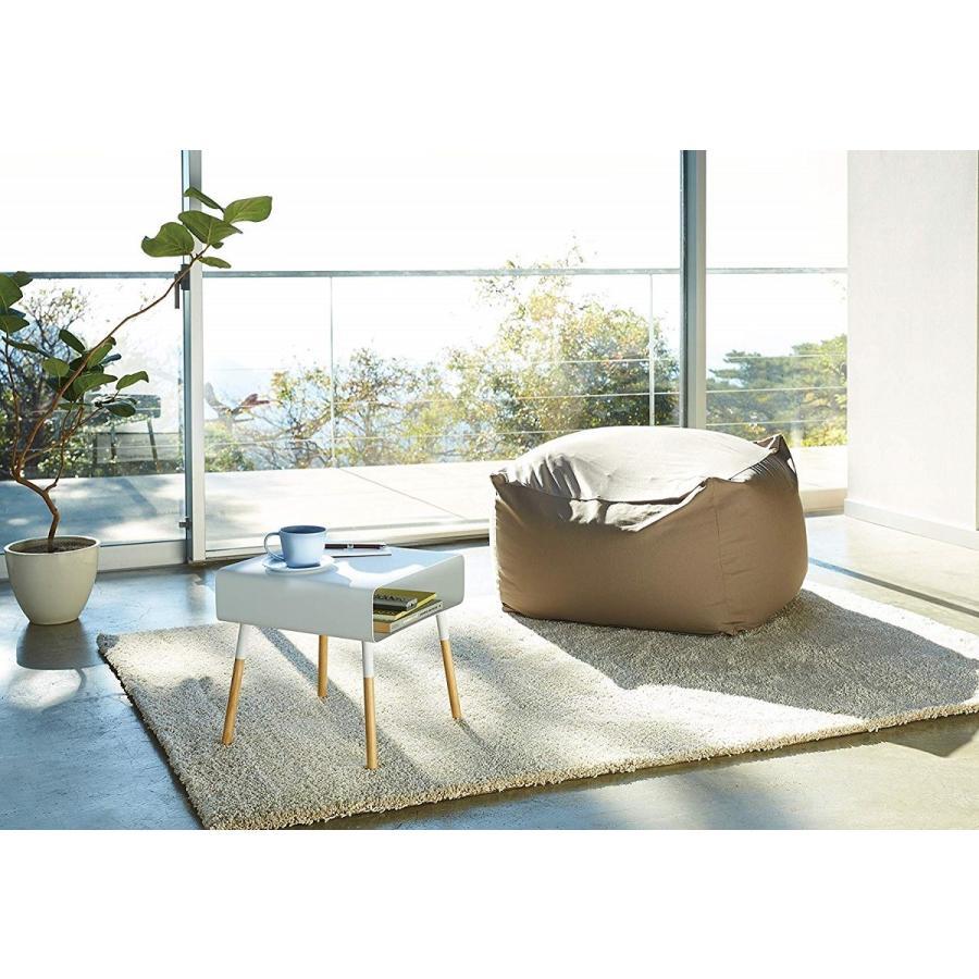 ローサイドテーブル ホワイト ブラック ソファー横 ベッド横 棚付き 天然木 スクエア|kagu-piena|15