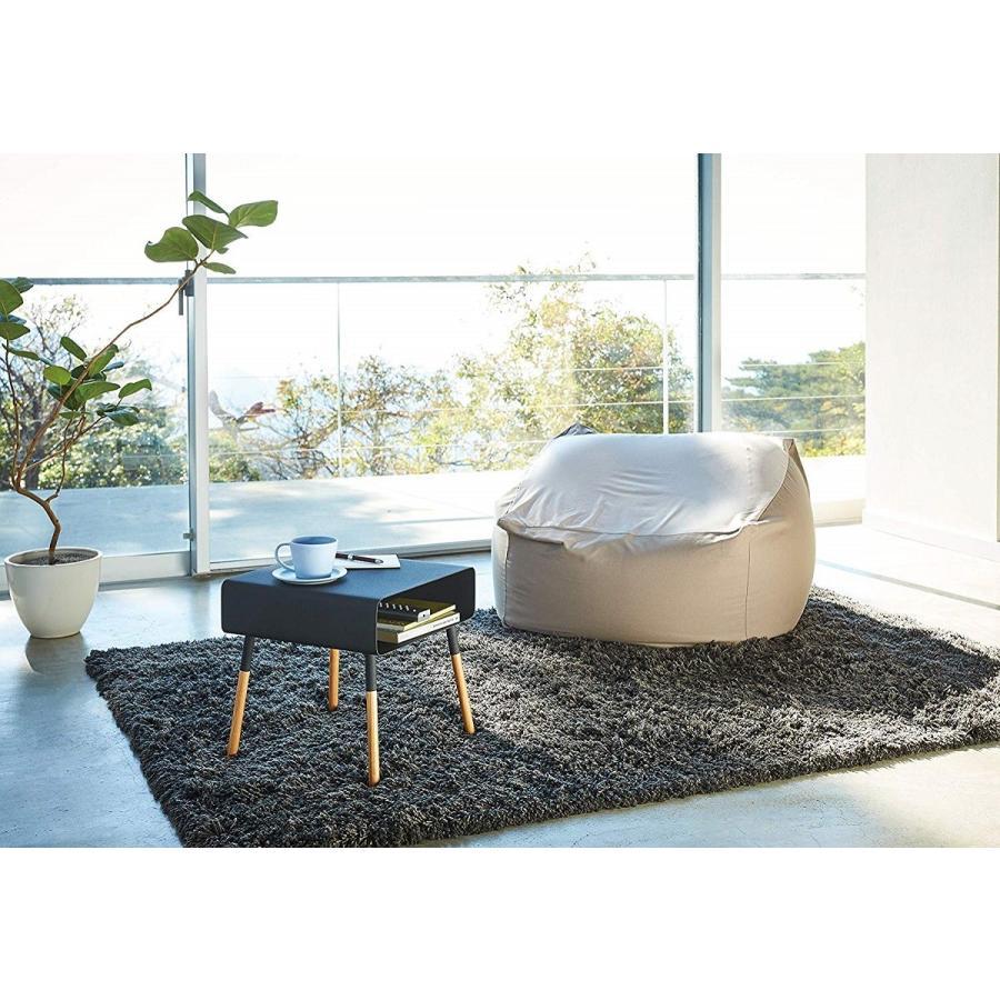 ローサイドテーブル ホワイト ブラック ソファー横 ベッド横 棚付き 天然木 スクエア|kagu-piena|16