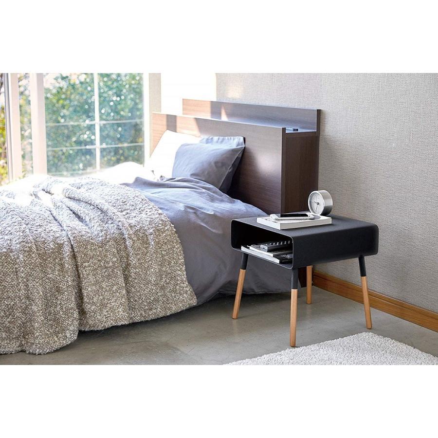 ローサイドテーブル ホワイト ブラック ソファー横 ベッド横 棚付き 天然木 スクエア|kagu-piena|03
