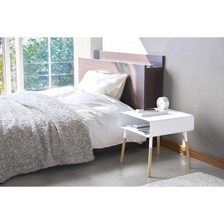 ローサイドテーブル ホワイト ブラック ソファー横 ベッド横 棚付き 天然木 スクエア|kagu-piena|04