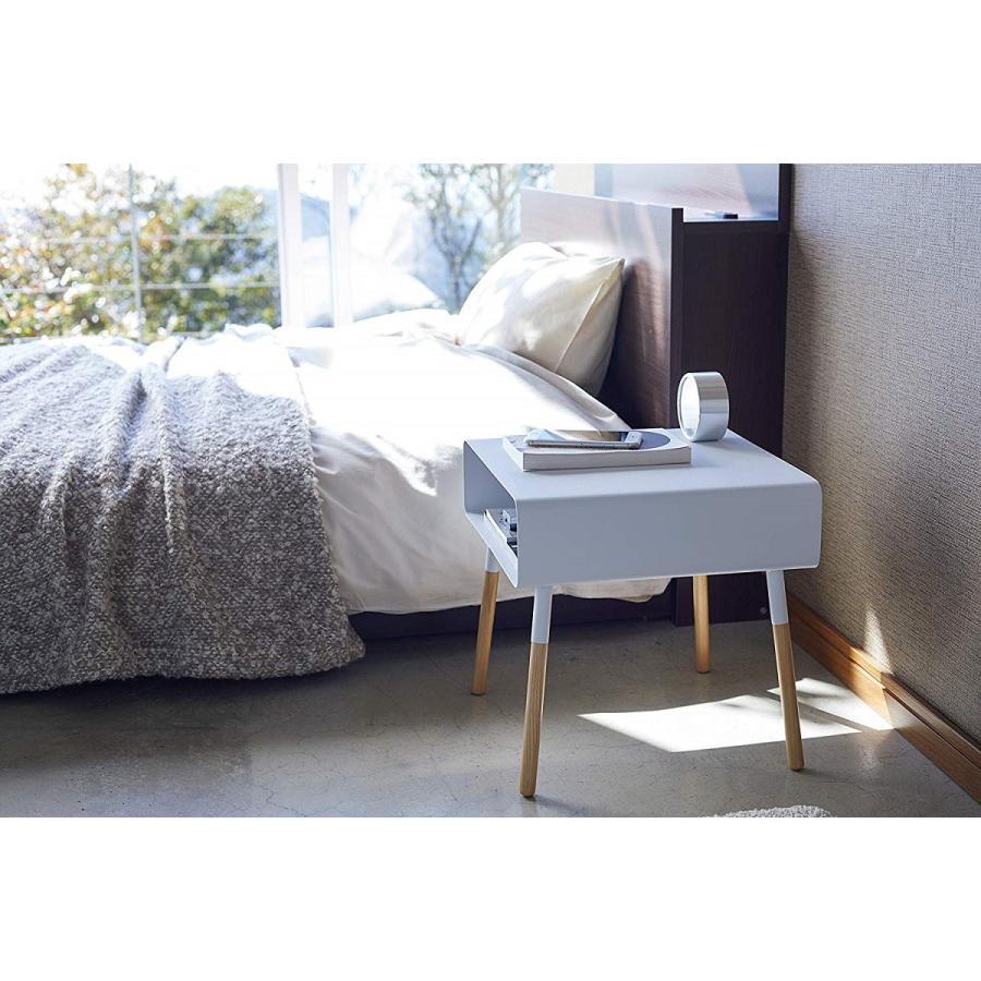 ローサイドテーブル ホワイト ブラック ソファー横 ベッド横 棚付き 天然木 スクエア|kagu-piena|05