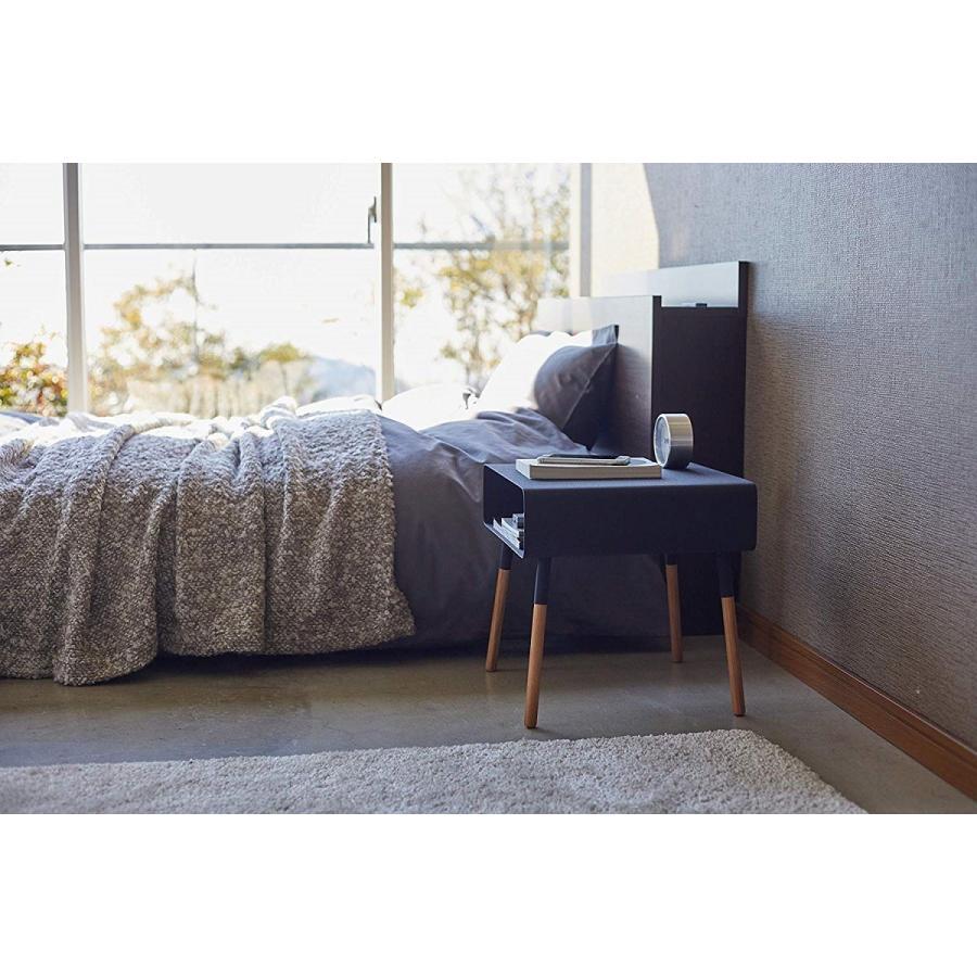ローサイドテーブル ホワイト ブラック ソファー横 ベッド横 棚付き 天然木 スクエア|kagu-piena|06