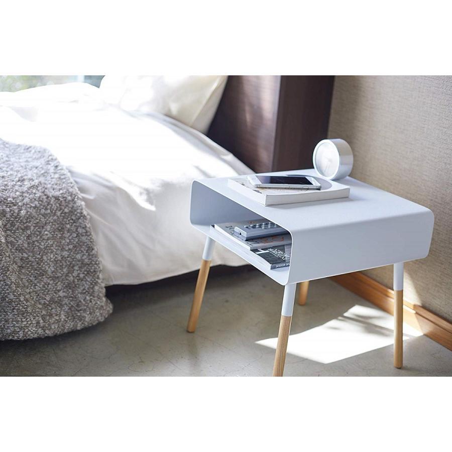 ローサイドテーブル ホワイト ブラック ソファー横 ベッド横 棚付き 天然木 スクエア|kagu-piena|07