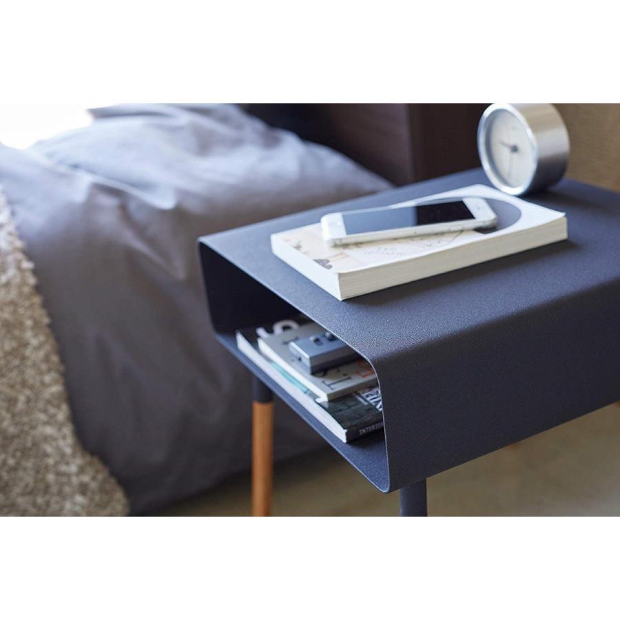 ローサイドテーブル ホワイト ブラック ソファー横 ベッド横 棚付き 天然木 スクエア|kagu-piena|08