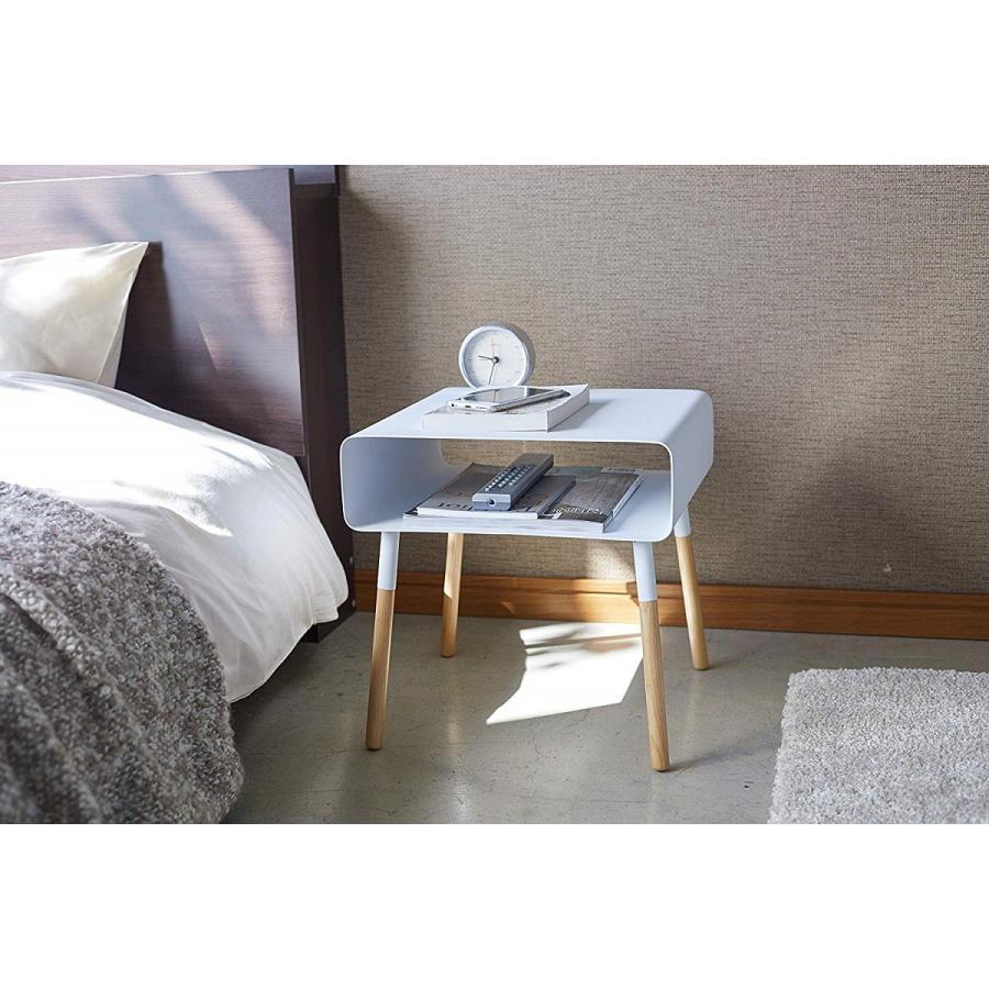 ローサイドテーブル ホワイト ブラック ソファー横 ベッド横 棚付き 天然木 スクエア|kagu-piena|09
