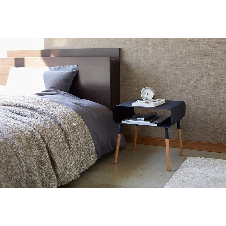 ローサイドテーブル ホワイト ブラック ソファー横 ベッド横 棚付き 天然木 スクエア|kagu-piena|10