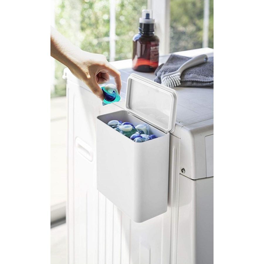 ランドリー収納 ホワイト ブラック タワー マグネット 洗濯機横 ボックス フタ付き ラック|kagu-piena|05
