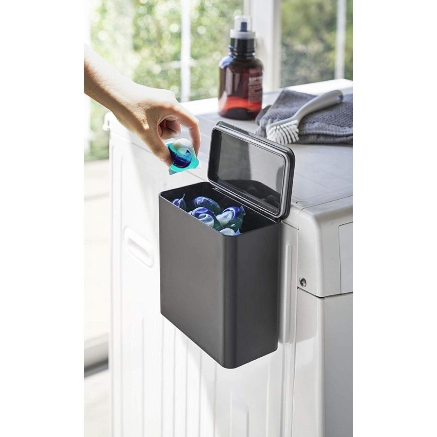 ランドリー収納 ホワイト ブラック タワー マグネット 洗濯機横 ボックス フタ付き ラック|kagu-piena|06