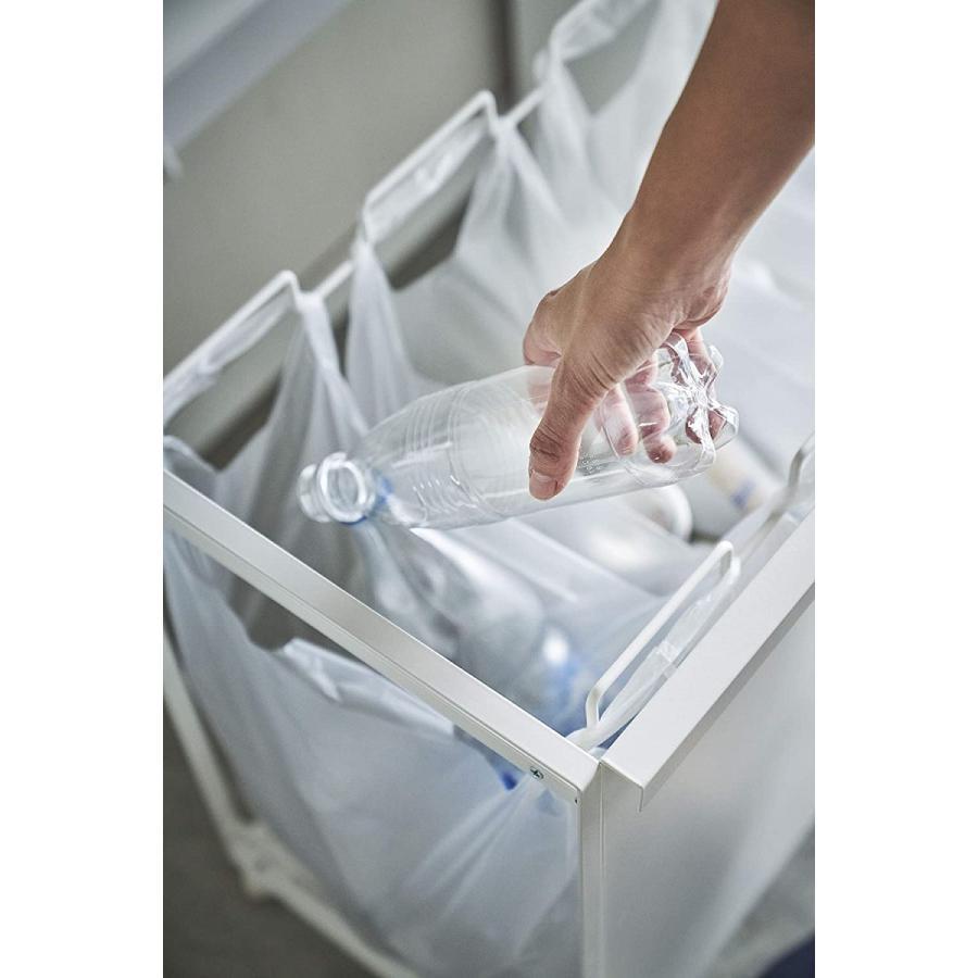 目隠し分別ダストワゴン ゴミ箱 3分別 ハンドルあり キャスター付 簡単に取り出せる 移動ラク ホワイト ブラック|kagu-piena|09