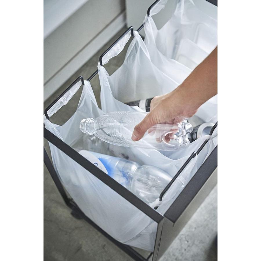 目隠し分別ダストワゴン ゴミ箱 3分別 ハンドルあり キャスター付 簡単に取り出せる 移動ラク ホワイト ブラック|kagu-piena|10