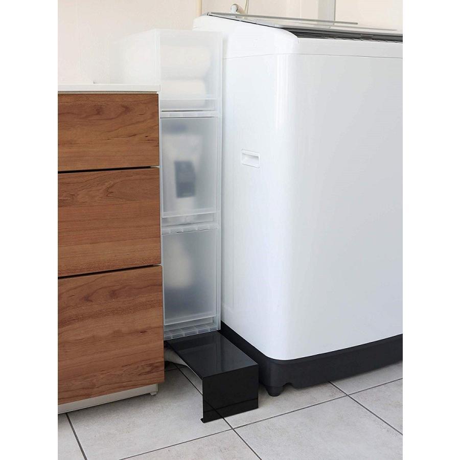 伸縮 洗濯機隙間ラック ホワイト ブラック タワー 伸び縮み 排水溝上 洗濯機横収納台|kagu-piena|03