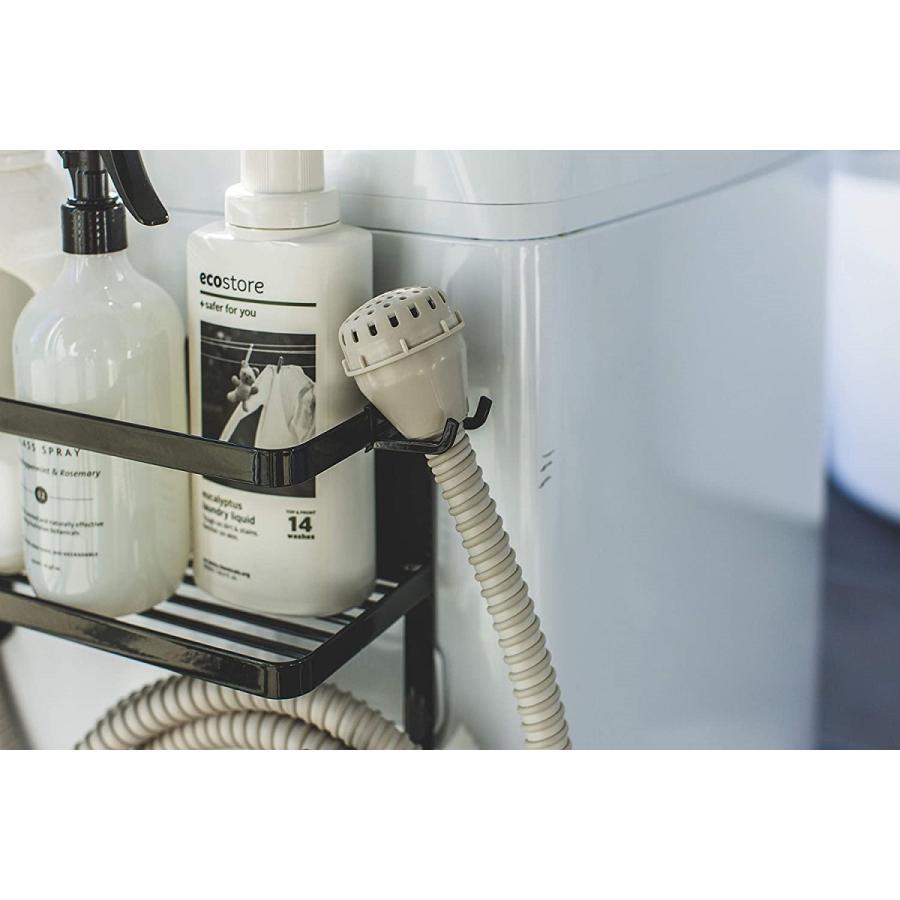 ランドリ雑貨収納ラック マグネット 収納棚 洗剤置き 給水ホースホルダー付き 洗濯機横 ホワイト ブラック kagu-piena 11