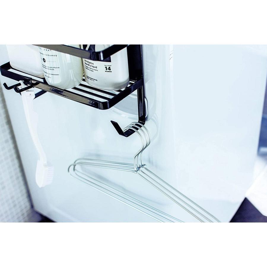 ランドリ雑貨収納ラック マグネット 収納棚 洗剤置き 給水ホースホルダー付き 洗濯機横 ホワイト ブラック kagu-piena 12