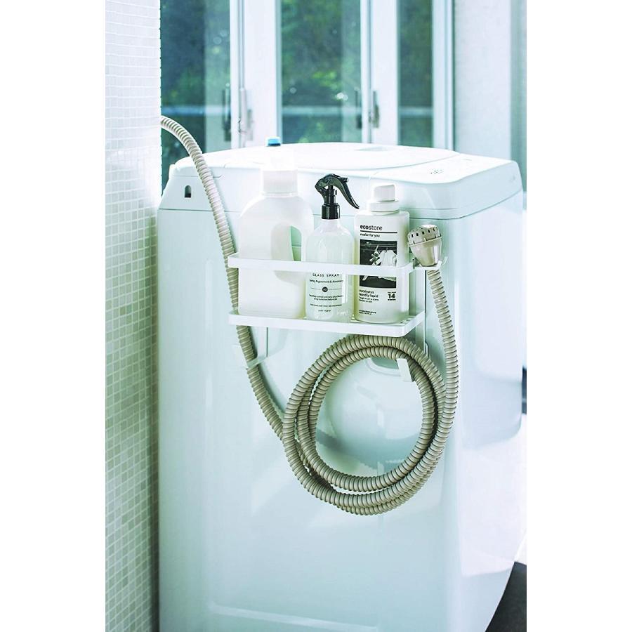 ランドリ雑貨収納ラック マグネット 収納棚 洗剤置き 給水ホースホルダー付き 洗濯機横 ホワイト ブラック kagu-piena 13