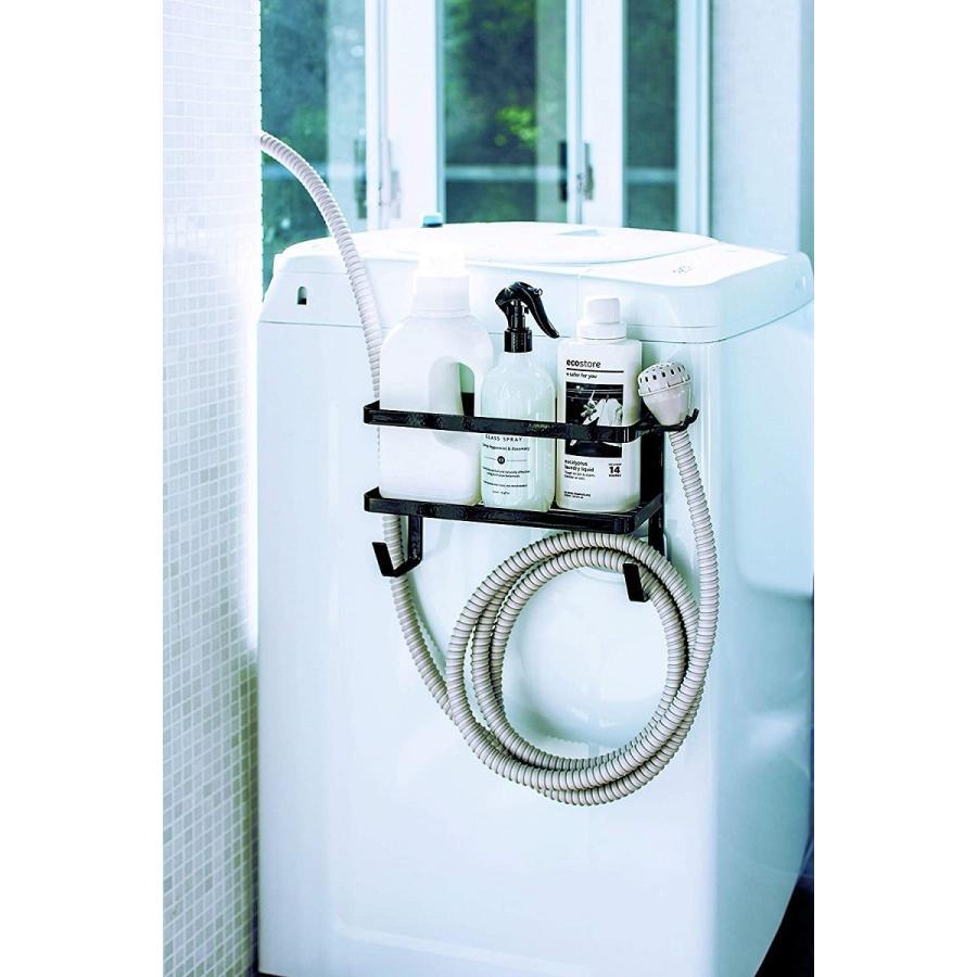 ランドリ雑貨収納ラック マグネット 収納棚 洗剤置き 給水ホースホルダー付き 洗濯機横 ホワイト ブラック kagu-piena 14