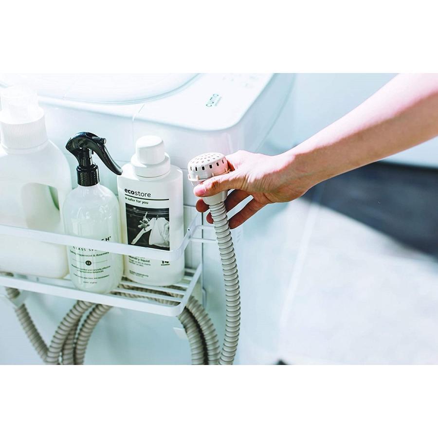 ランドリ雑貨収納ラック マグネット 収納棚 洗剤置き 給水ホースホルダー付き 洗濯機横 ホワイト ブラック kagu-piena 08