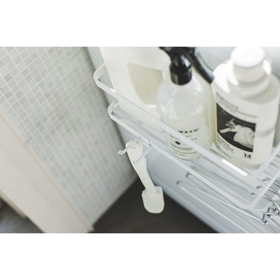 ランドリ雑貨収納ラック マグネット 収納棚 洗剤置き 給水ホースホルダー付き 洗濯機横 ホワイト ブラック kagu-piena 10