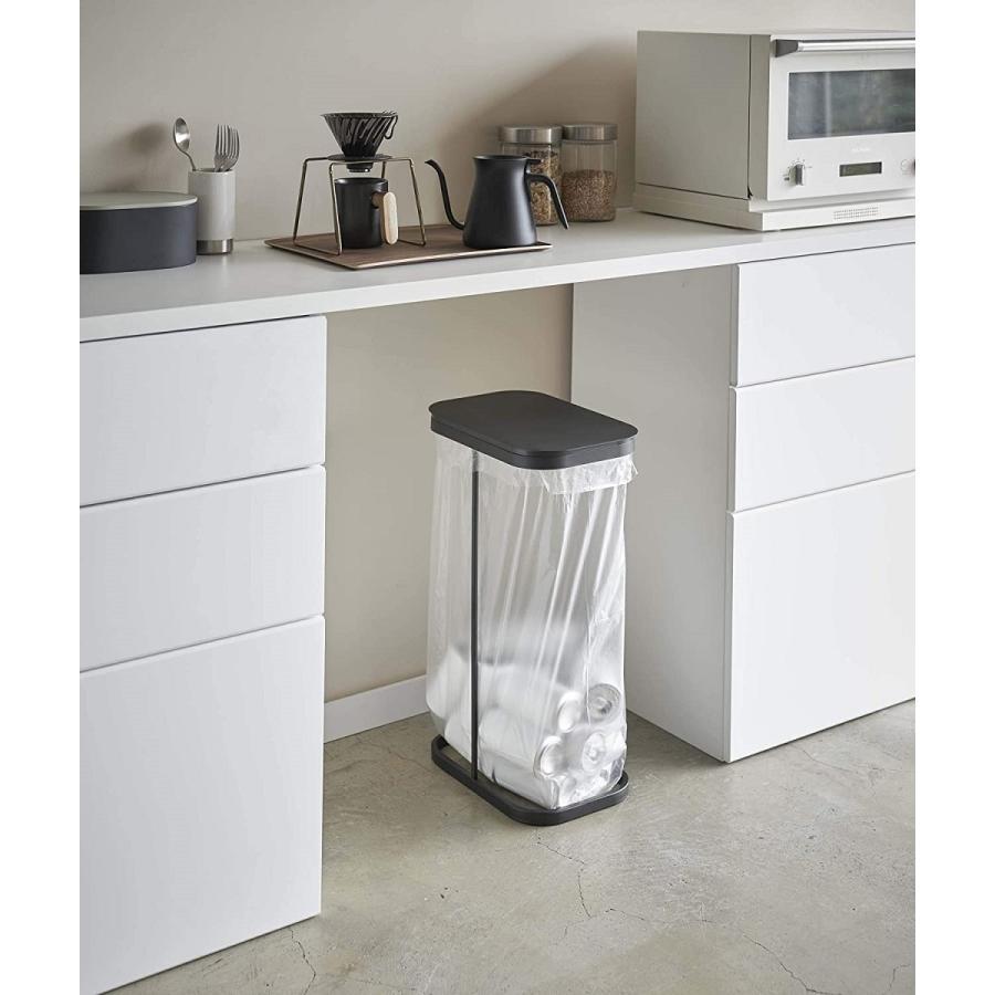 横開き分別ゴミ袋ホルダー ゴミ箱 ダストボックス ワイド 分別 30L 40L キッチン ホワイト ブラック|kagu-piena|14